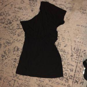 Cute one shoulder black mini dress!